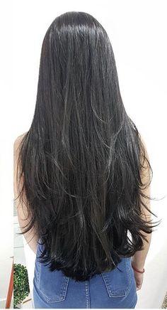 17 Hot Styles - Braided Ponytail for Black Hair in 2019 - Style My Hairs Waist Length Hair, Shoulder Length Hair, Long Dark Hair, Very Long Hair, Beautiful Long Hair, Gorgeous Hair, Haircuts For Long Hair Straight, Straight Wigs, Silky Hair