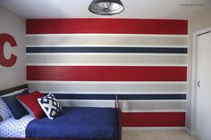How to paint perfect striped walls ~ via  www.iheartnaptime.net/how-to-paint-perfect-striped-walls/