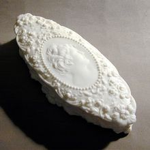 Pretty Woman Victorian White Milk Glass Vanity Covered Dish Jar from Great Vintage Stuff on Ruby Lane