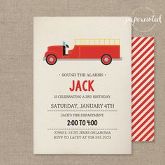 Fire Truck Birthday Invitation // Fire Truck by papernoteandco, $15.00