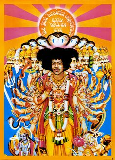 Someone put Jimi Hendrix into a birth of Buddha setting.