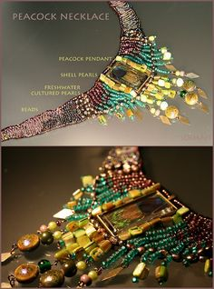 Soimán #peacock #necklace #feather #beads #jewelry #pearls #shell #handicrafts