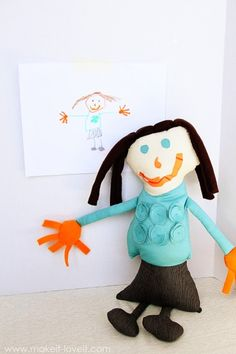 Turn a Child's Drawing into a treasured Stuffed Toy/Doll --- Make It and Love It