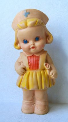 Vintage Sun Rubber Co Squeaky Nurse Doll Toy by WallflowerAntiques, $20.00