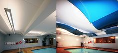 Before and After installation of stretched ceiling membrane-wrapped suspended curved panels, Best Western Hotel, Walkerton, Ontario, Canada Interior Design:ACI Wright Architects  http://www.aci-architects.com/ http://blog.laqfoil.com/?p=715