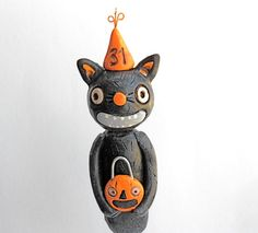 Halloween Cat with Treat Bag and Party Hat by indigotwinholiday, $19.00