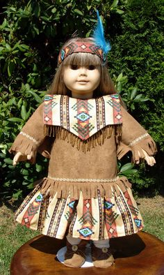 Indian Costume fits American Girl and other 18 inch dolls. $18.00, via Etsy.