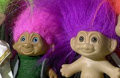 "I had these as a kid...""Invented in 1959 by a Danish woodworker, troll dolls became a North American toy craze in the early '60s and again in the '90s. Thomas Dam carved his first troll doll as a gift for his daughter"""