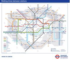 Transport for London has unveiled the very first official map showing the walking times between almost all stations on London's Underground network.