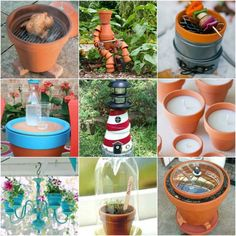 Terra cotta pots are common on a lot of properties and are not expensive to buy. This is the reason why there are just perfect to use in many creative ways. Flower Pot Crafts, Clay Pot Crafts, Crafts To Make, Flower Pots, Plastic Flowers, Plastic Pots, Terra Cotta, Garden Projects, Projects To Try