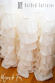 DIY:  Ruffled Curtains Tutorial - she has an excellent drawing & lots of pictures showing each step.