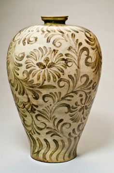 San Antonio Museum of Art- Maebyeong;  Korean, Goryeo Dynasty 918-1392, stoneware with iron decoration and celadon glaze.