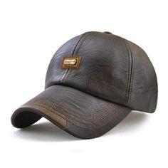 8eeffa28f0921 Men Vintage Man-made Leather Baseball Cap Outdoor Windproof Warm Hats  Adjustable Sports Caps - Banggood Mobile
