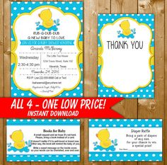 Rubber Duck Baby Shower Invitation Set, Includes Diaper Raffle, Books for Baby, Thank You Card, DK001ST Instant Download Printable
