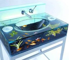Sink Aquarium, while it's a very cool idea, I think the fish may have a problem w/it.