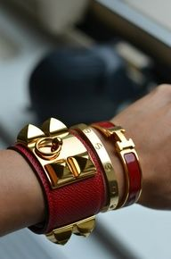 Amazing Hermes Bracelet Stack! Hermes CDC, Hermes clic clac and Cartier Love Bracelet.