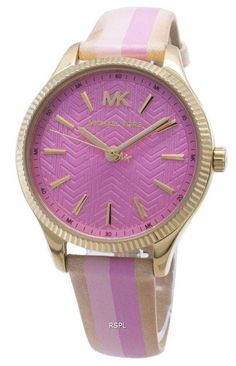Features: Gold Tone Stainless Steel Case Leather Strap Quartz Movement Mineral Crystal Pink Dial Analog Display Solid Case Back Buckle Clasp Water Resistance Approximate Case Diameter: Approximate Case Thickness: Wooden Wedding Bands, Pink Watch, Stainless Steel Case, Quartz Watch, Michael Kors Watch, Watches For Men, Leather, Accessories, Display