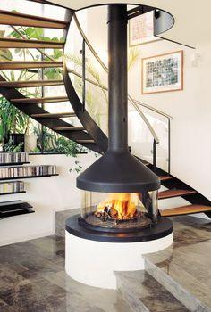 34 The Best Modern Fireplace Design Ideas - Home Bestiest Suspended Fireplace, Hanging Fireplace, Freestanding Fireplace, Stove Fireplace, Wood Fireplace, Fireplace Ideas, Simple Fireplace, Fireplace Kitchen, Fireplace Shelves