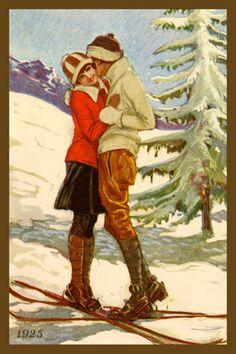 ° Mauzan - 1983 centenario nascita, Ed. Vintage Christmas Images, Retro Christmas, Vintage Cards, Vintage Postcards, Vintage Ski Posters, Vintage Couples, Vintage Romance, Vintage Kiss, Christmas Graphics