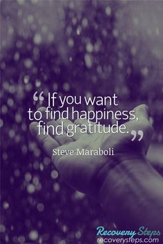 Inspirational Quotes:If you want to find happiness, find gratitude.  Follow: https://www.pinterest.com/RecoverySteps/