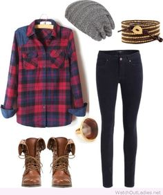 Jeans and a plaid shirt