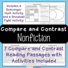 Compare and Contrast Nonfiction Text - Compare and Contrast Passages: This 45 page compare and contrast resource helps you teach comparing and contrasting nonfiction texts / informational texts in a variety of different ways, not simply a Venn Diagram. Reading Comprehension Strategies, Reading Passages, Reading Skills, Teaching Reading, Nonfiction Activities, Fun Activities, 5th Grade Spelling Words, Comparing Texts, 5th Grade Reading