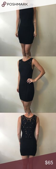 Free People Black Mesh Deco Cut Out Bodycon Dress Free People Dress black Sleeveless and made of cotton with a mesh Cut Out and Embroidery in a Deco design! Super cute and worn a few times lightly size extra small! Free People Dresses