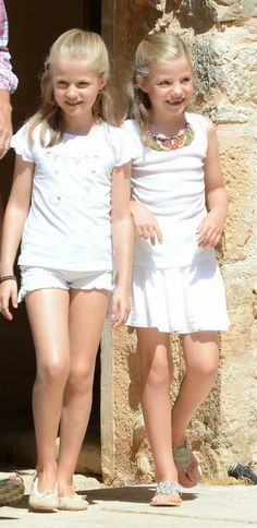 The Spanish Royal Family visit Sierra de Tramuntana, Palma de Mallorca, August 11, 2014-Infanta Leonor and Infanta Sofía