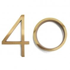 """Ribbon"" font Brass House Numbers from WestOn Apartment Therapy, Martha Stewart Home, Home Hardware, Brass Hardware, House Numbers, Table Numbers, Messing, Decoration, Interior And Exterior"