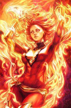 Jean Grey as the Phoenix by Stanley 'ArtGerm' Lau Dark Phoenix, Phoenix Marvel, Jean Grey Phoenix, Phoenix Force, Marvel Women, Marvel Girls, Comics Girls, Ms Marvel, Captain Marvel