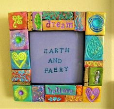 Your place to buy and sell all things handmade Colorful Picture Frames, Colorful Pictures, Clay Faces, Unique Gifts, Handmade Gifts, Clay Charms, Photo Displays, Doll Face, Mosaic Tiles
