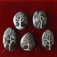 Lot de 5 galets peints à poser - Salat & Garonne - arbre by Coeur de pierre - Lyzzz GAP 119