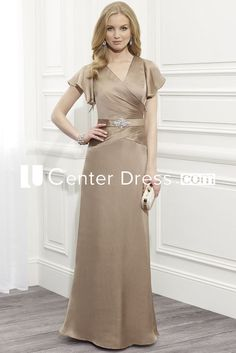 $126.69- Simple V-Neck Jeweled Satin Champagne Long Mother Of The Bride Dress with Cap Sleeves. http://www.ucenterdress.com/cap-sleeve-v-neck-jeweled-satin-mother-of-the-bride-dress-pMK_300259.html.  Tailor Made mother of the groom dress/ mother of the brides dress at #UcenterDress. We offer a amazing collection of 800+ Mother of the Groom dresses so you can look your best on your daughter's or son's special day. Low Prices, Free Shipping. #motherdress