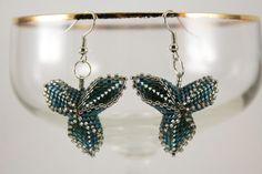 Minimalist earrings. Teal dark silver beaded by AnnaMosztok