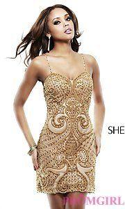 Buy Short Beaded Spaghetti Strap Dress by Sherri Hill at PromGirl