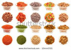 A Set Of Pictures Of Nuts, Legumes And Dried Fruit In A Glass Bowl ...