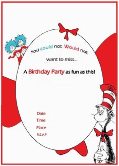 Get free printable druss cat in the hat invitation template dr seuss birthday invitation free template invitations online filmwisefo Images