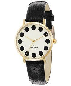 kate spade new york Watch, Women's Metro Black Leather Strap 34mm 1YRU0107 - Women's Watches - Jewelry & Watches - Macy's
