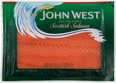 Large focus on the product and quickly identifies as a John West product. Simple wave pattern encases the main type well. Smoked Fish, Smoked Salmon, Scottish Salmon, Fish And Meat, Tilapia, Wave Pattern, Lunch Time, Food Packaging, Raw Food Recipes