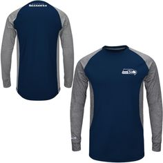 Mens Seattle Seahawks Majestic College Navy Game Lead Ultra-Lightweight Long Sleeve Fleece