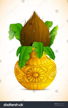 Find Illustration Coconut Golden Mangal Kalash Hindu stock images in HD and millions of other royalty-free stock photos, illustrations and vectors in the Shutterstock collection. Pongal Images, Flex Banner Design, Saree Painting Designs, Wedding Card Design Indian, Wedding Symbols, Hindu Symbols, Hindu Rituals, Lord Vishnu Wallpapers, Tanjore Painting