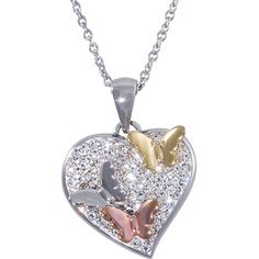 """Connections from Hallmark Crystal Accent Stainless Steel Tricolor Butterfly Heart Pendant, 18"""" with 2"""" Extender"""