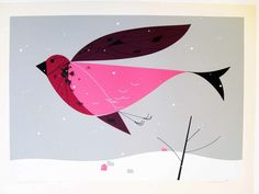 "Charley Harper ""Purple Finch"""