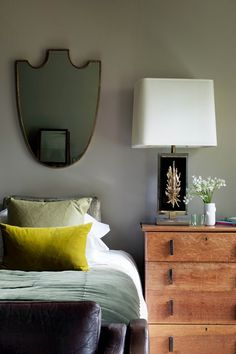 Oak Chest Of Drawers, Mirror Above Bed - Bedroom Decoration Ideas (houseandgarden.co.uk)