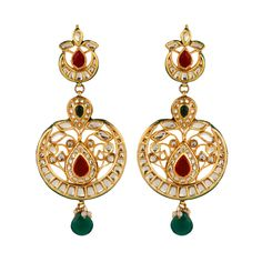 Pure collection red and green gold plated chand baali earrings for women dilan jewels