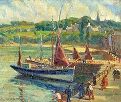"""Emmy Leuze Hirschfeld """" Douarnenez,animation sur le port """""""