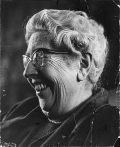 Agatha Christie laughing - 1964, from a Paris newspaper archive.