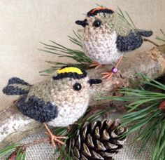 Pip and Dot, tiny goldcrests from Freshly Knitted