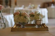 wedding flowers centrepiece glass grouping on gold tray