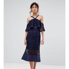 Jarlo Frill Layer Cold Shoulder Lace Midi Dress ($170) ❤ liked on Polyvore featuring dresses, navy, navy maxi dress, vintage lace dress, navy blue maxi dresses, sheer maxi dresses and floral-print maxi dresses